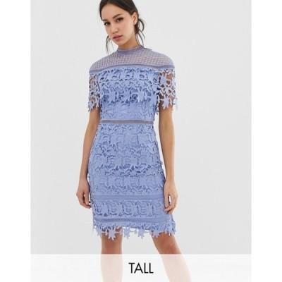 チチロンドン レディース ワンピース トップス Chi Chi London Tall lace high neck mini dress in cornflower blue