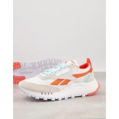 リーボック レディース スニーカー シューズ Reebok Classic Legacy sneakers in white with orange and blue detail White