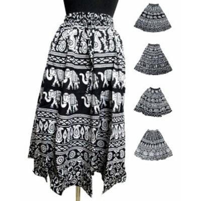ゾウ柄エスニックスカート エスニック衣料 エスニックアジアンファッション