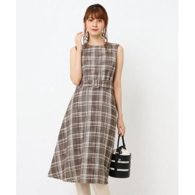 Couture Brooch/クチュールブローチ MIXツイードミドルワンピース ブラウン(242) 38(M)