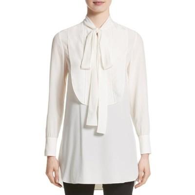 バーバリー レディース シャツ トップス Tie Neck Silk Blouse NATURAL WHITE