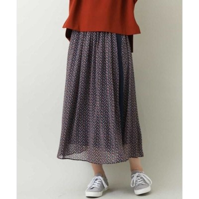 MK MICHEL KLEIN / エムケーミッシェルクラン 【洗濯機で洗える】幾何プリント巻きスカート