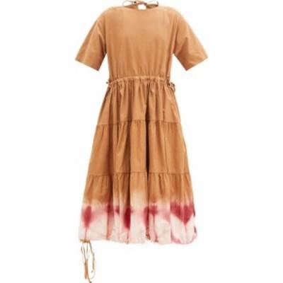 ストーリーエムエフジー Story mfg. レディース ワンピース ティアードドレス Emilie tiered clamp-dyed organic-cotton midi dress Terr
