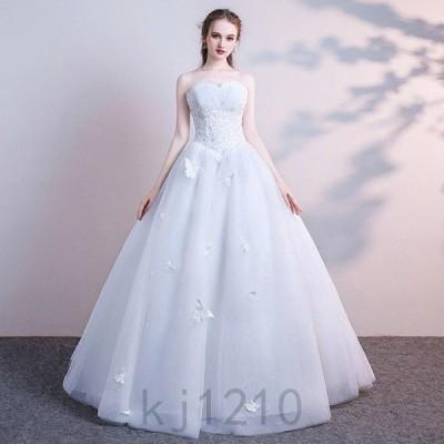 ウェディングドレス Aラインドレス エンパイア ロングドレス ベアトップ  結婚式二次会 花嫁 編み上げタイプ 二次会  ウェディング S-XXL