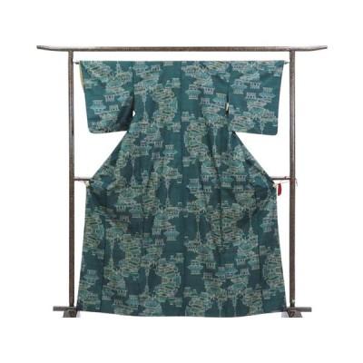 リサイクル着物 紬 正絹グリーン地袷大島紬着物