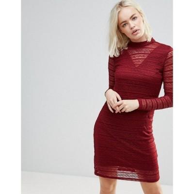 ビーヤング レディース ワンピース トップス b.Young Lace Dress With Sheer Panels Burgundy