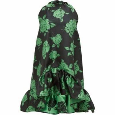 エムエスジーエム MSGM レディース ワンピース ミニ丈 ワンピース・ドレス Ruffled floral-jacquard mini dress Black