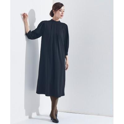 【喪服。礼服】洗える防しわスタンドカラータックーデザインワンピース<大きいサイズ有> ,スマイルランド, ブラックフォーマル, Funeral Outfit