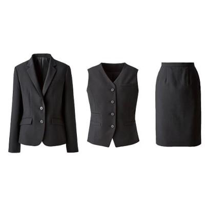 オフィススーツ(3点セット)(事務服・洗濯機OK、撥水、防汚加工、形態安定、ストレッチ素材)/ブラック(無地)/11AR67