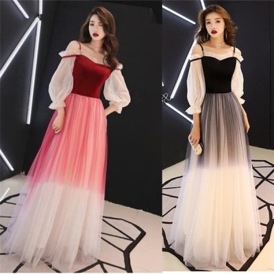 ワンピース 韓国 ファッション レディース 20代 30代 40代 50代 イブニングドレス オフショルダー ロングスタイル スリム ホスト
