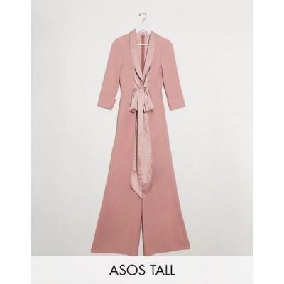 エイソス ASOS Tall レディース オールインワン ジャンプスーツ ワイドパンツ ASOS DESIGN Tall plunge tux jumpsuit with wide leg in blush