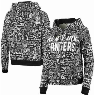 ダナキャラン パーカー・スウェットシャツ アウター レディース New York Rangers DKNY Sport Women's Black Urban Full-Zip Hoodie Jacket Unknown