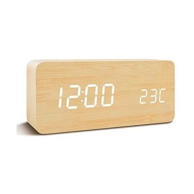 Qansi 目覚まし時計 大音量 LEDデジタル時計 木目調 おしゃれ 置き時計 カレンダー付き 卓上 アラーム 温度表示 明るさ調節 (ベージュ)