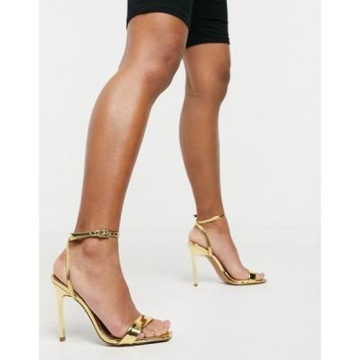 エイソス ASOS DESIGN レディース サンダル・ミュール シューズ・靴 Nala Barely There Heeled Sandals In Gold ゴールドミラー