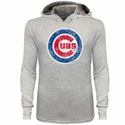 Majestic Threads マジェスティック スレッド スポーツ用品  Majestic Threads Chicago Cubs Gray Pullover Hooded T-Shirt with Marble
