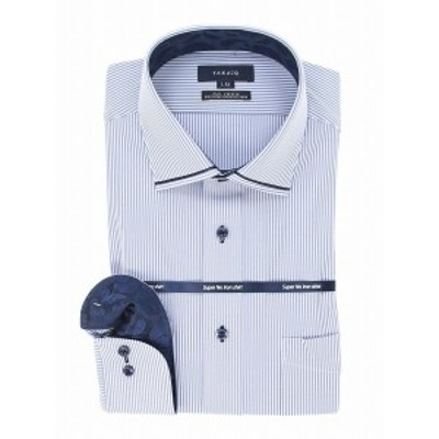 タカキュー(TAKA-Q)/ノーアイロンストレッチ レギュラーフィットワイドカラー長袖ニットシャツ