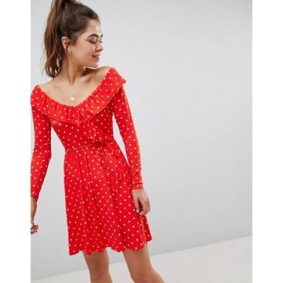 エイソス レディース ワンピース トップス ASOS DESIGN sweetheart neck mini dress in polka dot print Polka dot