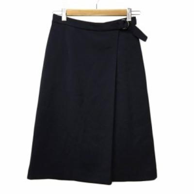 【中古】ナチュラルビューティーベーシック NATURAL BEAUTY BASIC スカート 台形 ひざ丈 無地 XS 紺 ネイビー