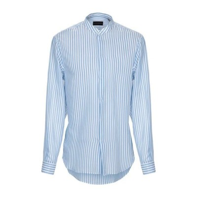 EMPORIO ARMANI ストライプ柄シャツ ファッション  メンズファッション  トップス  シャツ、カジュアルシャツ  長袖 スカイブルー