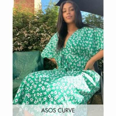 エイソス ASOS Curve レディース ワンピース ワンピース・ドレス ASOS DESIGN Curve tie front midi tea dress in green floral print