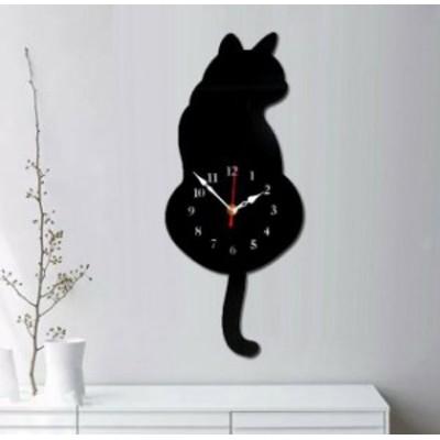 送料無料 新品 壁掛け時計 犬 ドッグ 壁掛け ウォール シルエット インテリア かわいい 黒 ブラック