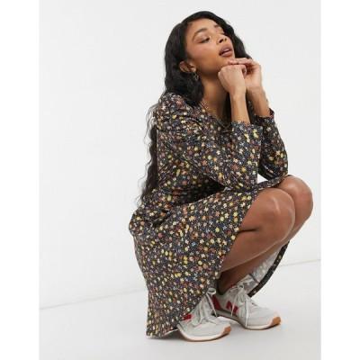 トップショップ ミニドレス レディース Topshop frill hem mini dress with ruched detail in floral エイソス ASOS マルチカラー