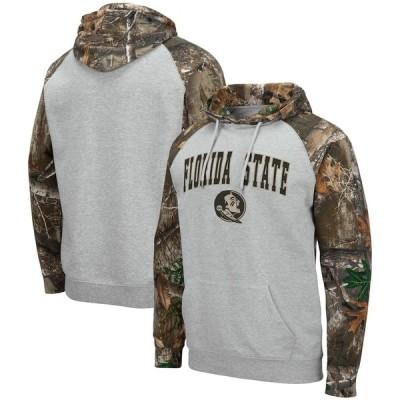 """メンズ フーディ """"Florida State Seminoles"""" Colosseum Arch & Logo 2.0 Raglan Pullover Hoodie - Heathered Gray/Realtree Camo"""