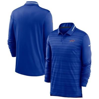 バッファロー・ビルズ Nike Sideline Performance Long Sleeve ポロシャツ - Heathered Royal