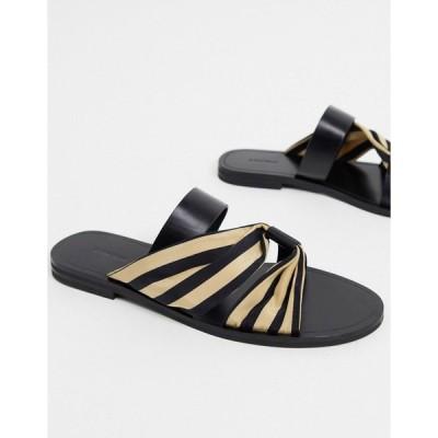 アンドアザーストーリーズ レディース サンダル シューズ & Other Stories leather and fabric striped flat sandals in black Beige