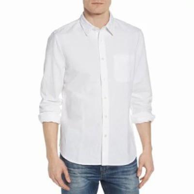 エージー シャツ Colton Regular Fit Cotton & Linen Sport Shirt True White