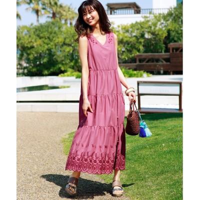 【大きいサイズ】 裾刺しゅうティアードワンピース ワンピース, plus size dress