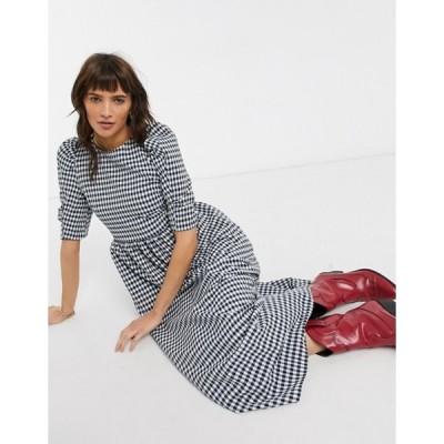 トップショップ レディース ワンピース トップス Topshop puff sleeve midi dress in navy gingham
