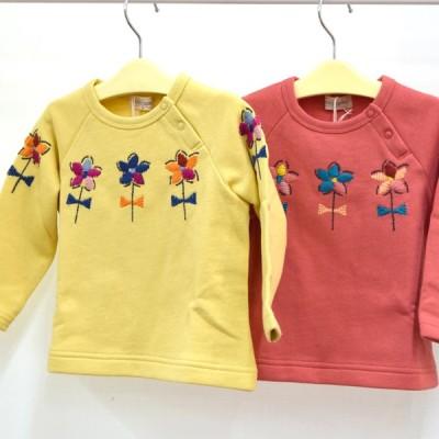セール トロワラパン 裏毛ラグランスリーブ花刺繍トレーナー 100-130m Trois Lapins