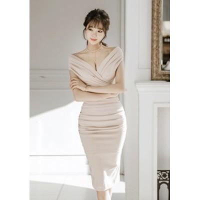 セクシー くしゅくしゅ Vライン ワンピース レディース ワンピ Vネック セクシー キャバ嬢 パーティー 韓国ファッション