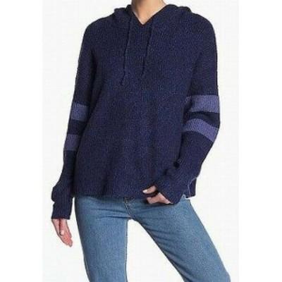 ファッション トップス John + Jenn Womens Blue Size Large L Striped Sleeve Hooded Sweater