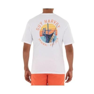 ガイ ハーヴェイ Tシャツ トップス メンズ Men's Sunset Short Sleeve Pocket Crew Neck T-Shirt White