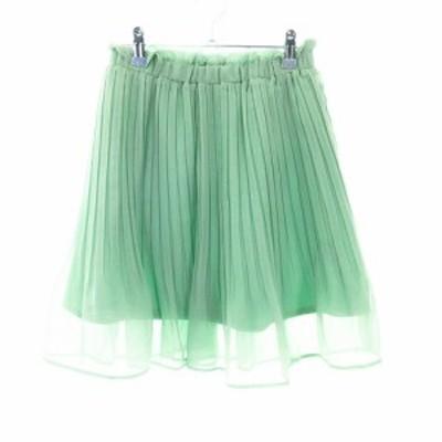 【中古】ミッシュマッシュ MISCH MASCH スカート プリーツ ミニ 無地 38 緑 グリーン /MO レディース