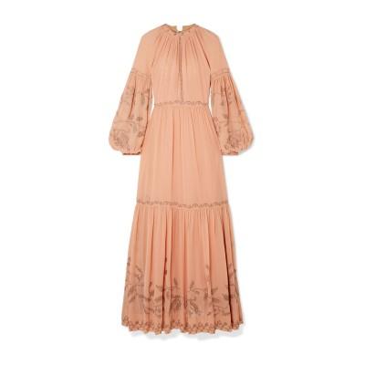 ULLA JOHNSON ロングワンピース&ドレス あんず色 6 シルク 100% ロングワンピース&ドレス