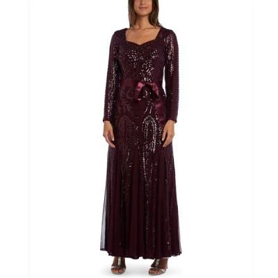 アールアンドエムリチャーズ ワンピース トップス レディース Embellished Godet Gown Burgundy