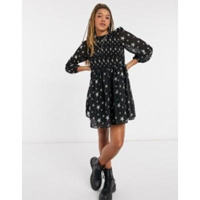 エイソス レディース ワンピース トップス ASOS DESIGN shirred mini smock dress in star print Star print