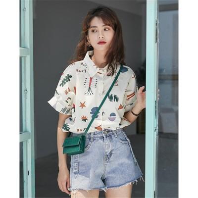 春まで着れる トレンドデザイン 香港風 ガーリー トップス 女性 夏 シャツブラウス 上着