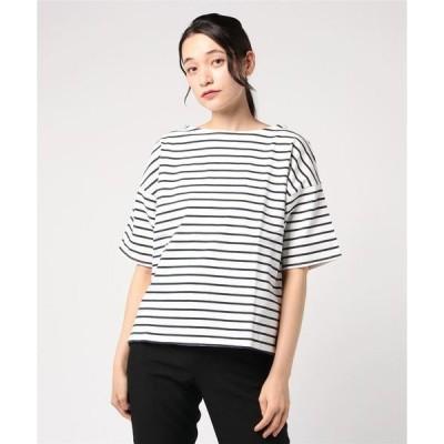 tシャツ Tシャツ 厚ボーダー ドロップショルダープルオーバー (LC)