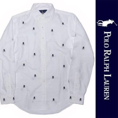 新品 POLO RALPH LAUREN L/S SHIRT ポロ ラルフローレン 長袖シャツ ホワイト ボタンダウン メンズ スカル ドクロ 刺繍 CLASSIC FIT 正規品 (D0919-RLT0001)