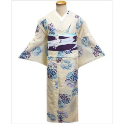 着物 絽 夏用 洗える 紗 軽装帯 付け帯 セット きなり地 乱菊小菊 M L