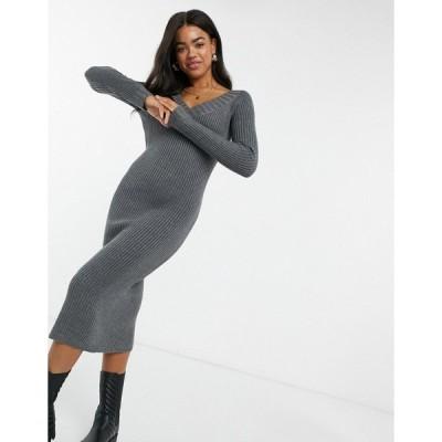 エイソス レディース ワンピース トップス ASOS DESIGN knit dress with v neck in gray Charcoal