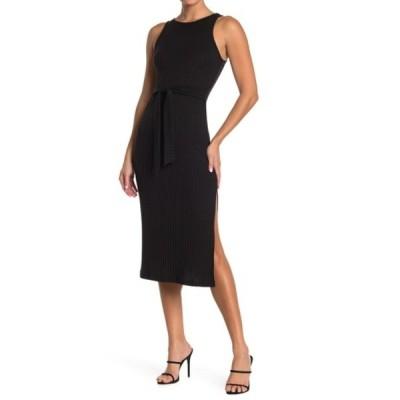 グッドラックジェム レディース ワンピース トップス Ribbed Tie Waist Slit Midi Dress BLACK