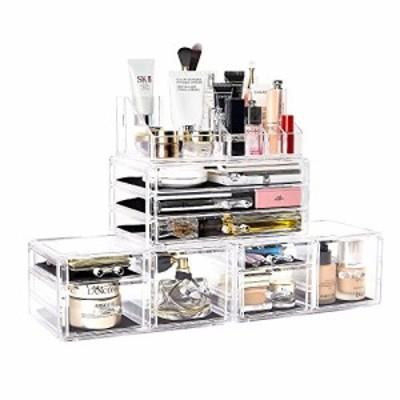 送料無料 DreamGeniusメイクオーガナイザー4個のアクリルジュエリーと化粧品収納ボックス9個付