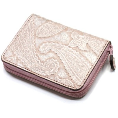 コインケース ラウンドファスナー 小銭入れ レディース ヘビ 蛇 パイソン 革 財布 ジッパー ギフト 日本製 Ver.2 ペイズリー柄 ピンク