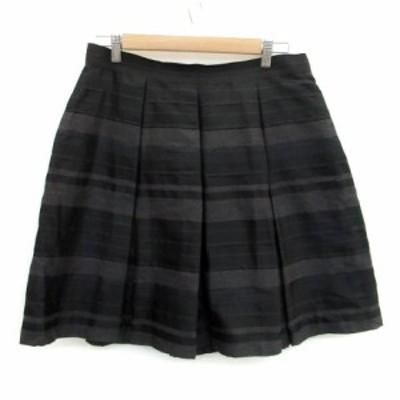 【中古】アンタイトル UNTITLED スカート プリーツ ひざ丈 ボーダー柄 大きいサイズ 44 ブラック 黒 /MS39 レディース