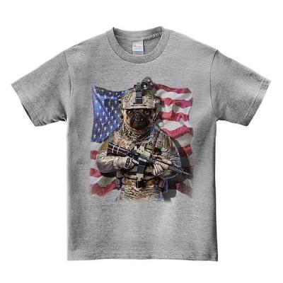 【兵士のパグ】メンズ 半袖 Tシャツ